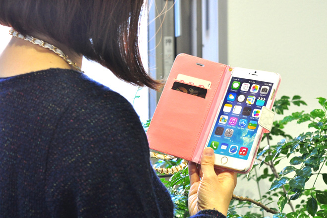 iPhone6/6sチェーン付き手帳型レザーケース・カバー作成