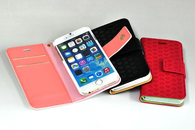 iPhone6/iPhone6 Plus対応 チェーン付き手帳型レザーケース