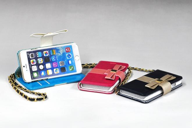 iPhone6/iPhone6 Plus対応 リボン付き手帳型レザーケース