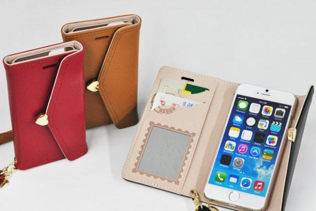 iPhone6/6s ミラー付き手帳型レザーケース