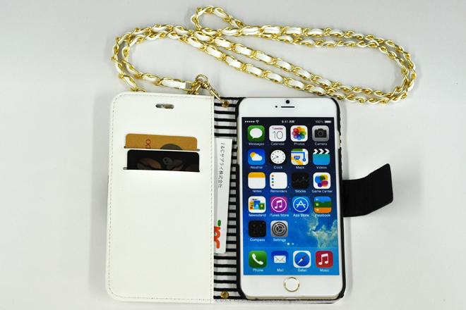 iPhone6/6Plus チェーン付き手帳型レザーケース