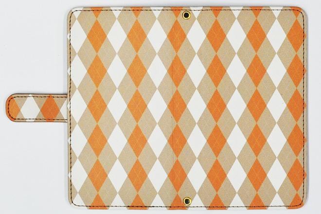 マルチタイプ手帳型レザーケースの印刷サンプル・アーガイル