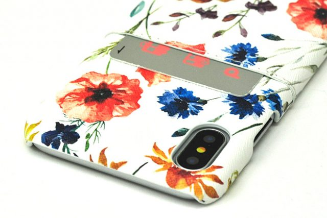 iPhone XS/X兼用 ポケット付きレザーケース インクジェット印刷