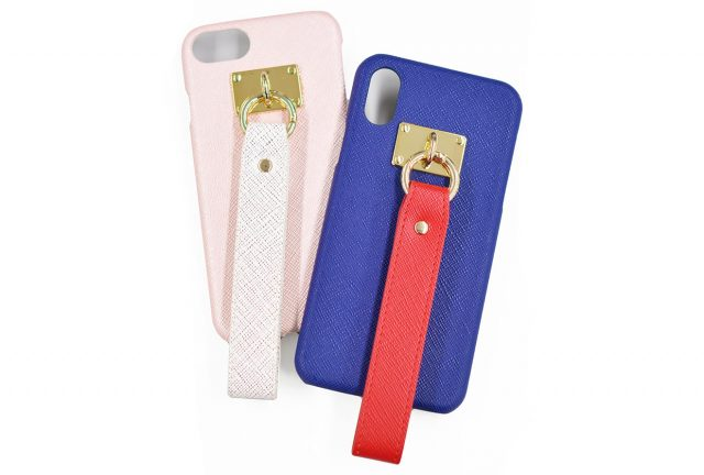 サフィアーノ調PUレザーのストラップ付きiPhone6/7/8兼用ケース