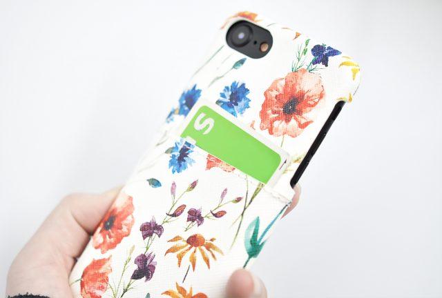 花やコスメを印刷した背面収納つきiPhone6ケース