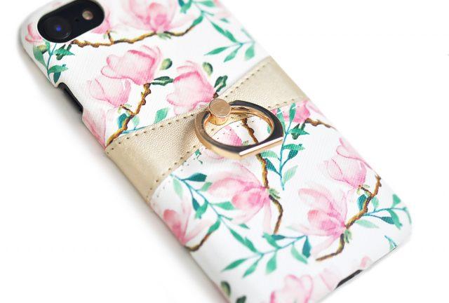 背面収納とスマホリング付きの便利な花柄iPhoneケース